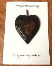 7th Wedding Anniversary Card Copper Anniversary Leather Heart Gift Handmade