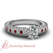 Vintage Style Platinum Engagement Ring Pave Set 3/4 Ct Ruby And Oval Diamond GIA