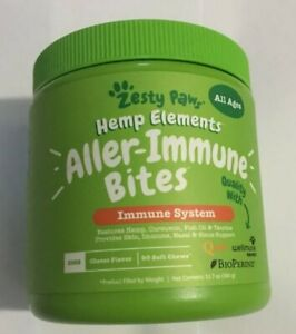 Zesty Paws Hemp Elements Aller-Immune Bites Cheese Flavor 90 Soft Chews For Dogs