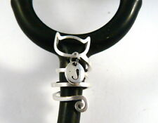 Stethoscope ID tag Cat design SPIRAL engraved initial charm ring,vet,nurse, RN,
