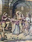Antique Italian Wall Tapestry Tavern Scene Bar Maids Dancers Bawdy Men Drinking