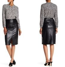 Rebecca Taylor Lamb Leather Front Vent Pencil Skirt $895 2 Black