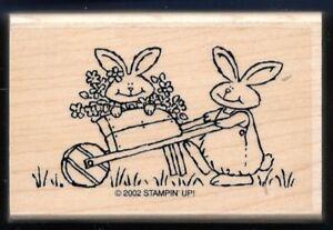 GARDENER BUNNY RABBIT Flower CART Spring Country Life STAMPIN UP! RUBBER STAMP