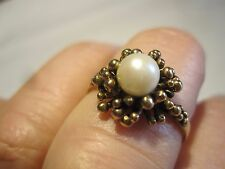 GORGEOUS ANTIQUE VINTAGE SOLID 9K GOLD GENUINE Akoya Pearl RING Sz 6 ESTATE Rare