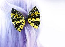 Yellow & Black Star Wars Handmade Fabric Hair Bow Intergalactic Geeky Hair Clip