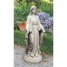 Vg55436 - Madonna of Notre Dame Garden Statue - Antique Stone Finish!