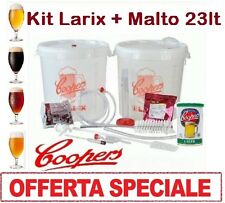 """OFFERTA KIT DI FERMENTAZIONE BIRRA """"LARIX""""+MALTO COOPERS 23 LT BIRRA ARTIGIANALE"""