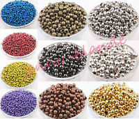 20-200X Metal Round Ball Spacer Bead Gold Silver Bronze Copper Black 3/4/5/6/8mm