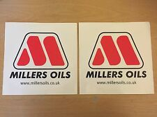2 X MILLERS OIL GO KART DIRT BIKE SCOOTER QUAD F1 RACING STICKERS VINYL DECAL