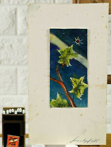 ab €1 Bruno Grosskopf 1908-1984 Ölgemälde 1975 abstrakt Miniatur Pflanzen Himmel