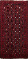Geometric Navy Blue/ Rust Red Balouch Oriental Area Rug Wool Hand-knotted 3x6 ft
