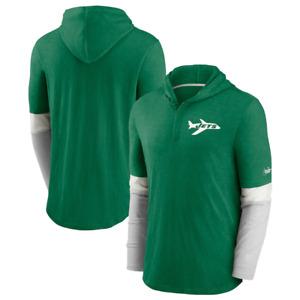 New York Jets T-Shirt NFL Mens Nike Henley Hooded T-Shirt - New