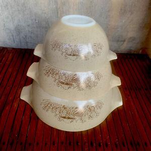 VTG PYREX Forest Fancies Mushroom Cinderella Nesting Mixing Bowls Set of 3