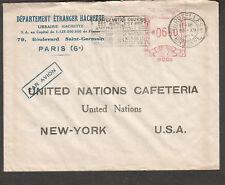 Belgium 1953 meter cover Dept Etranger Hachette Bruxelles to United Nations NY