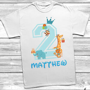 Personalised 2nd Birthday T-Shirt Boys Animal Theme Party Bday Design Glitter