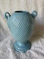 Vintage Pottery Vase Blue Aqua Urn Design Swirl Pattern