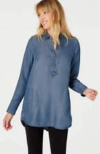 J. Jill  Blue denim Shirt 1X Bristol Blouse Chambray Top $99 NWT