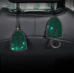 1x Bling Green Crystal Diamond Car Truck Seat Back Hooks Headrest Hangers Holder