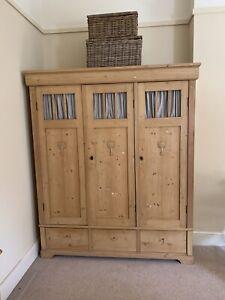 Three Door Pine Knock Down Wardrobe.