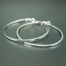 18k white Gold GF large hoop solid earrings