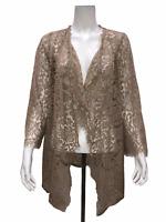 Isaac Mizrahi Women's Cascade Open Front Lace Cardigan Top Wheat Small Size