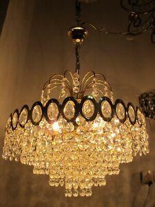 By Ernst Palm German Real Swarovski Crystal chandelier lamp ceilling light 1960s
