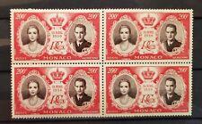 1956 Monaco Grace Kelly aPrince Rainier 200f Wedding Stamp Block of 4 S# C47 MNH