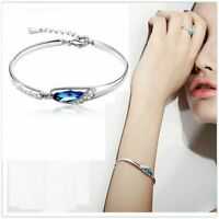 2020 Elegant Silver Plated Crystal Chain Bracelet Women Cuff Bangle Jewelry Hot
