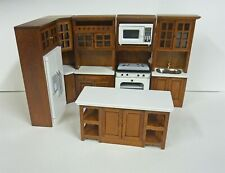 Dollhouse Miniature Walnut 7 Pc Kitchen Set w/ White Counters & Island., T6725