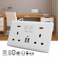 2 Way UK Plug Mains Power Socket W/ USB Charging Ports Connection Wall Plate 13A
