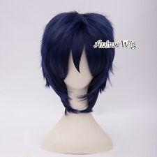 Anime Short Dark Blue Layered Basic Cosplay Hair Unisex Wig Heat Resistant
