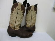 Nocona Brown Bullhide Leather Rodeo Cowboy Boots Womens Size 7 B USA