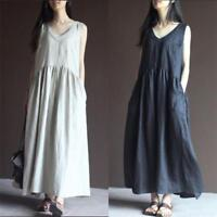 Womens Cotton Linen V Neck Loose Maxi Flax Summer Long Dress Sleeveless Dresses
