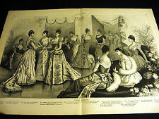 Victorian Ladies Fashions EVENING BALL GOWNS FURS FANS DRESSES 1890 Large Print
