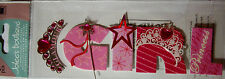 NEW 5 pc GLAMOUR GIRL Pink Tiara Princess Gems Wand 3D Title Stickers JOLEE'S
