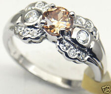 Champagne CZ Sterling Silver Ring Rhodium plated, #21
