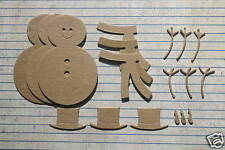 """3 Bare/Unfinished chipboard Build A Snowman Die cuts 2 1/8"""" wide x 3 1/4"""" tall"""