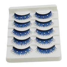 5pair Blue Rhinestone Fake False Eyelashes for Party Stage Eye Makeup Costume LG