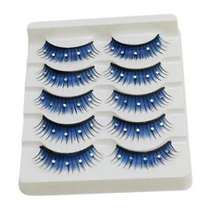 Blue Coloured Long False Eyelashes Fake Extensions Crystal Gem Bulk Tray MA