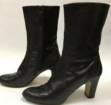 COLE HAAN Chocolate Brown Mid Calf Snakeskin Side Zip High Heel Boots  Size 8.5M