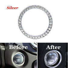 1xSliver Car Engine Start Stop Push Button Knob Key Switch Decor Bling Ring Trim