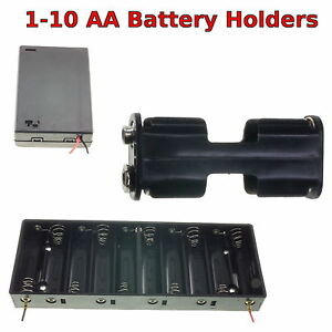 1-10 AA Battery Holder Box with Switch/ PP3 Clip/ Wire/ Solder Tags/ JR Lead