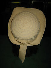 VINTAGE  WOMEN'S SPUNWOVEN STRAW CREAM HAT WITH DECORATIVE BAND BY MISS EVERITT