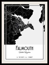 FALMOUTH MAP POSTER PRINT MODERN CONTEMPORARY CITIES TRAVEL IKEA FRAMES