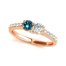 Stone Diamond Solitaire Ring 14k Rose Gold 1.28 Cts Blue & White Vs2-Si1 2