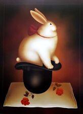 "Igor Galanin RABBIT IN A HAT 34"" x 26"" Lithograph Fine Art Poster"