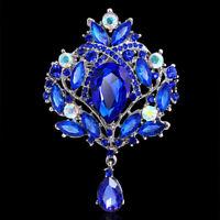 VINTAGE LARGE-ROYAL-BLUE-DIAMANTE-CRYSTAL-DROP DANGLE BRIDAL BROOCH PIN GIFT