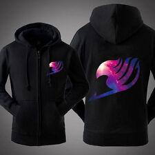 Hot Anime Fairy Tail Galaxy Thicken Sweatshirt Unisex Hoodie Jacket Coat Black