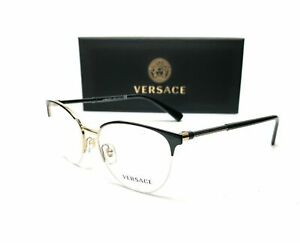 Versace VE1247 1252 Black Pale Gold Demo Lens Women Eyeglasses 52-17