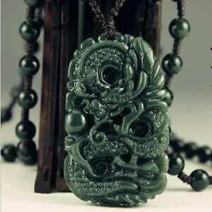 Natural jade gemstone pendant Green Dragon necklace gift Blessing Energy Elegant